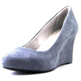 Rockport Seven to 7 Wedge Pump Women W Open Toe Suede Gray Wedge Heel