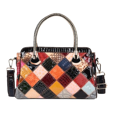 CHAOS BY ELSIE Fall Mosaic Theme Genuine Leather Convertible Tote Bag - 13x4.3x8.5 inches
