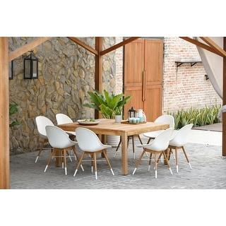 Link to Amazonia Teak Bonita White 9-piece Square Sidechair Patio Dining Set Similar Items in Patio Furniture