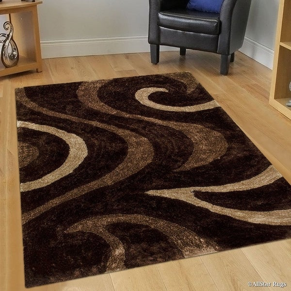 Allstar Brown Shaggy Area Rug With 3d Brown Circle Design