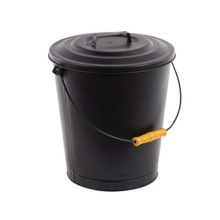 Pleasant Hearth 614  Portable Fireplace Ash Disposal Can with Lid and Heat Resistant Base - Black