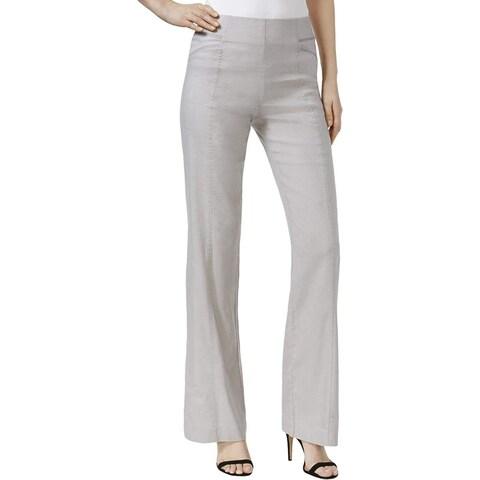 INC Womens Linen Regular Fit Wide Leg Pants, Gray, 12 - pl