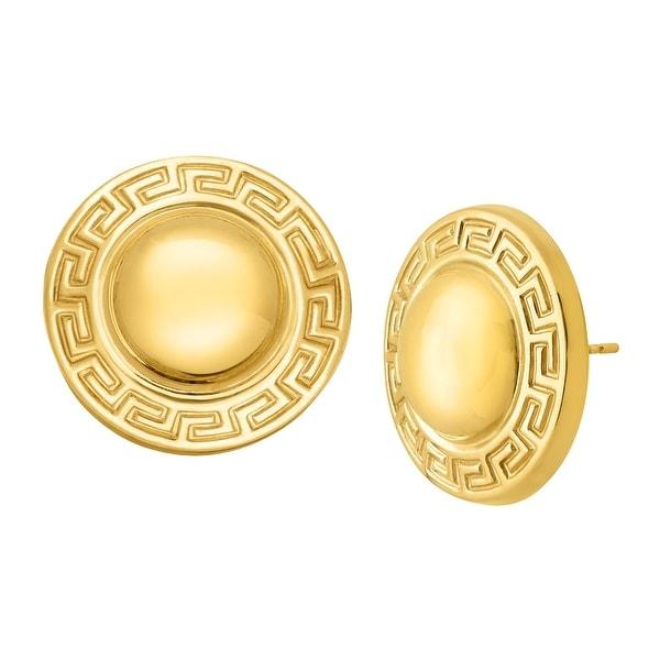 Just Gold Greek Key Stud Earrings in 14K Gold - YELLOW