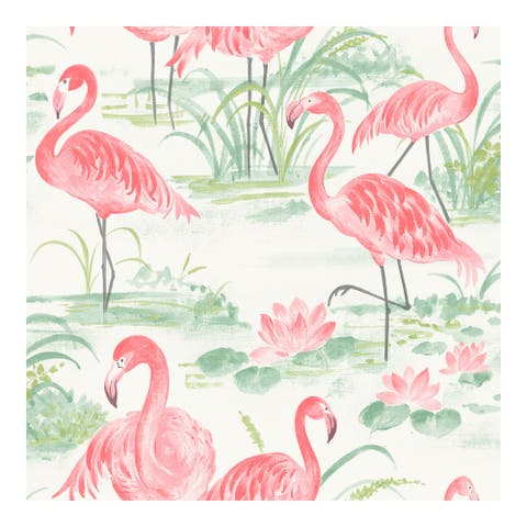 Pink Flamingo Beach Peel & Stick Wallpaper - 216in x 20.5in x 0.025in