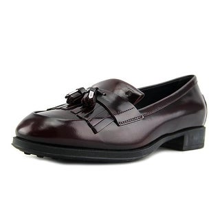Tod's Mocassino Gomma OE Frangia Nap. Met Men Round Toe Leather Burgundy Loafer