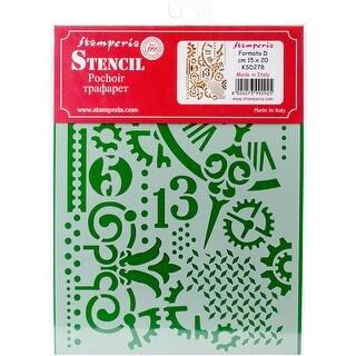 """Gears & Hands - Stamperia Stencil D 7.87""""X5.91"""""""