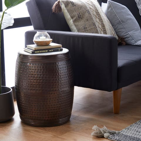 Brown Iron Industrial Accent Table 19 x 16 x 16 - 16 x 16 x 19Round