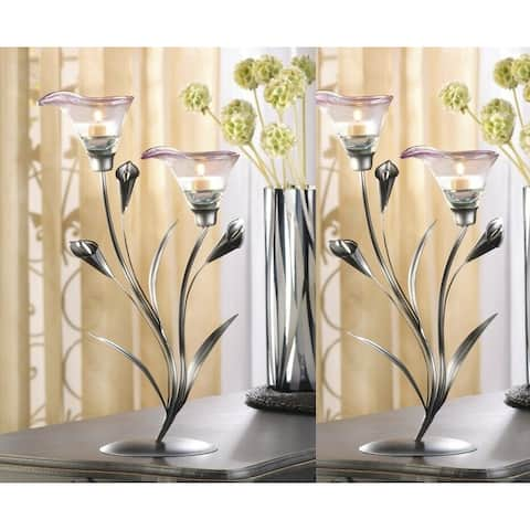 Set of 2 Flowering Tea light Holders