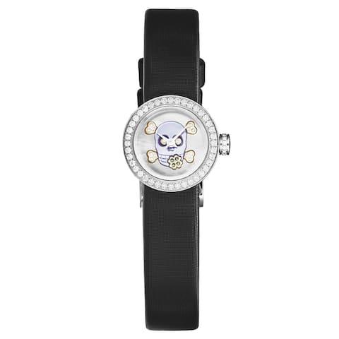 Christian dior women's cd040110a029 'la d de dior mini' purlple skull dial diamond bezel black satin strap swiss quartz watch