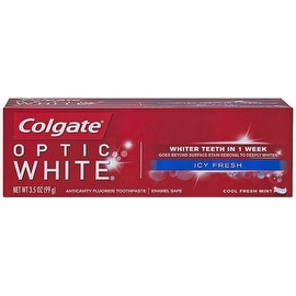 Colgate Optic White Icy Fresh Anticavity Fluoride Toothpaste, Cool Fresh Mint 3.50 oz