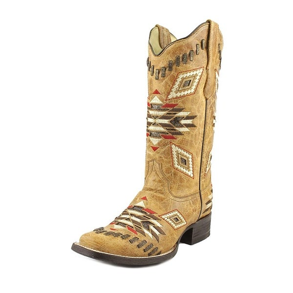 Corral E1023 Women Square Toe Leather Tan Western Boot