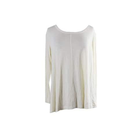 Style & Co. Plus Size Warm Ivory Seamed Long-Sleeve T-Shirt 0X