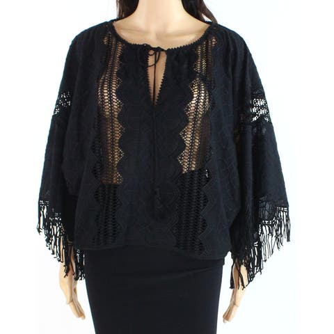Nanette Lepore Womens Blouse Black Size Small S Fringe Crochet Keyhole