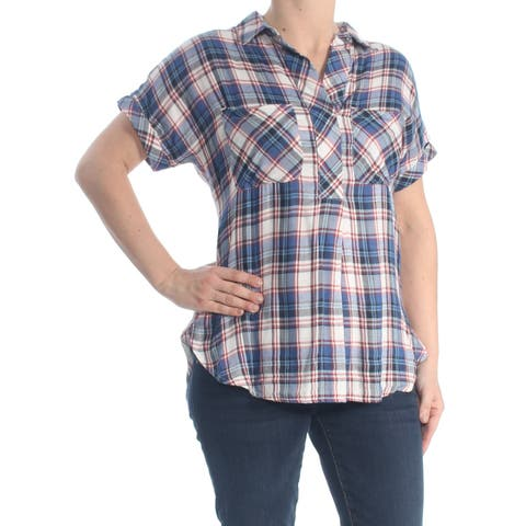 WILLIAM RAST Womens Blue Pocketed Plaid Cuffed V Neck Button Up Wear To Work Top Size: XS
