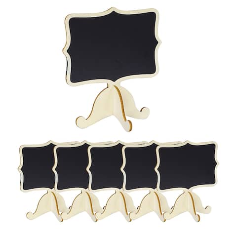 6pcs Wood Mini Chalkboard Signs w Support Easel DIY for Message Tags - Beige