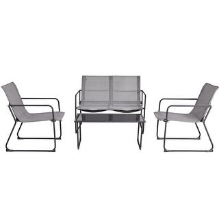 Gymax 4Pieces Furniture Set Outdoor Patio Conversation Tempered Glass Table Chairs Steel