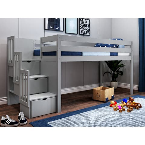 JACKPOT Contemporary Low Loft Twin Bed with 3 Step Stairway - 49 1/4 high x 98 wide x 41 3/4 deep