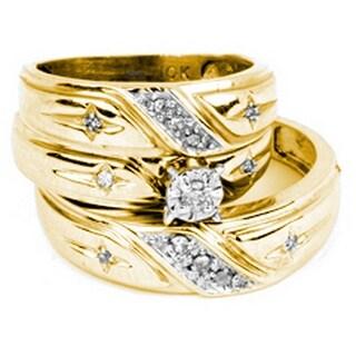 1/5Ctw Diamond Trio Set 10K Yellow-Gold - White I-J