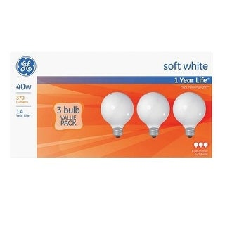 GE 44742 Decorative Incandescent Globe Light Bulb, 40 Watts, 120 Volt