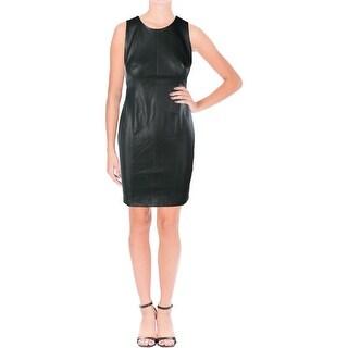 Lauren Ralph Lauren Womens Petites Alessona Casual Dress Faux Leather Sleeveless