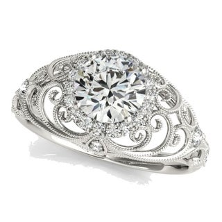 14K White Gold Vintage Engagement Ring 1.50ctw Antique Style Ring