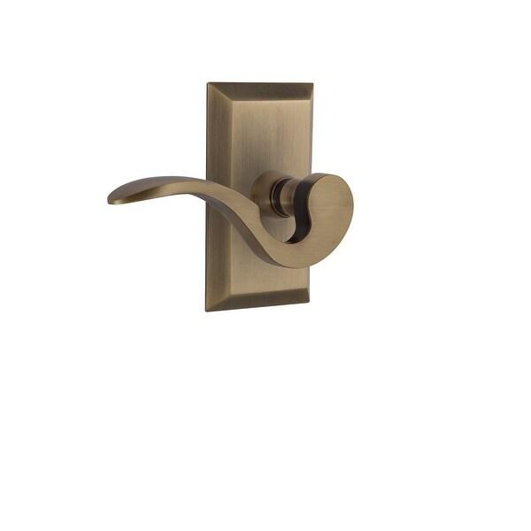"Nostalgic Warehouse STUMAN_PRV_234_NK_RH Manor Privacy Door Lever Set with Studio Rose for 2-3/4"" Backset Doors"
