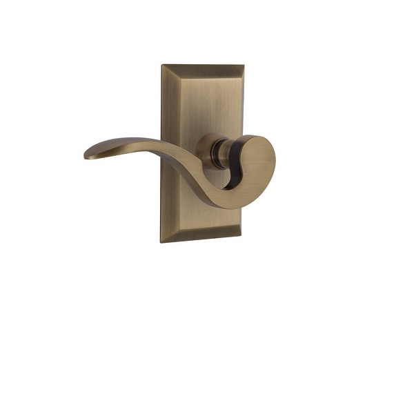 "Nostalgic Warehouse STUMAN_PSG_234_NK_RH Manor Passage Door Lever Set with Studio Rose for 2-3/4"" Backset Doors"