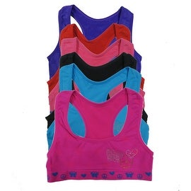 Girl's 6 Pack Seamless Butterfly Rhinestones Racerback Matching Tops