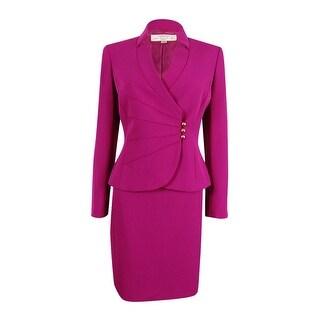 Tahari Women's Asymmetrical-Button Skirt Suit - FUCHSIA