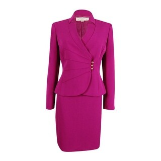 Tahari Women's Petite Asymmetrical-Button Skirt Suit