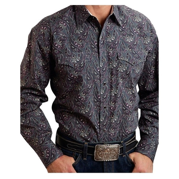 Stetson Western Shirt Men Paisley Long Sleeve Gray 11-001-0425-0779 GY