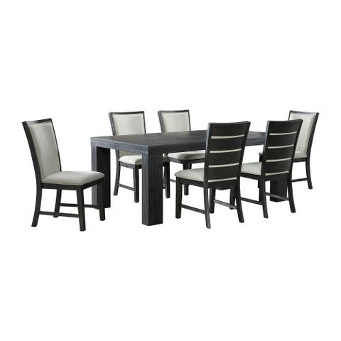 Picket House Furnishings Jasper 7PC Dining Set-Table & Six Side Chairs in Black