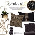 "G Home Collection Luxury Black And Gold Geometry Pattern Embroidered Pillow 14""X22"" - Thumbnail 4"