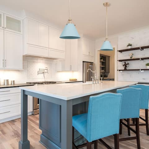 """Modern Blue Gold Ceiling Pendant for Kitchen Island - D8""""x H 7"""""""