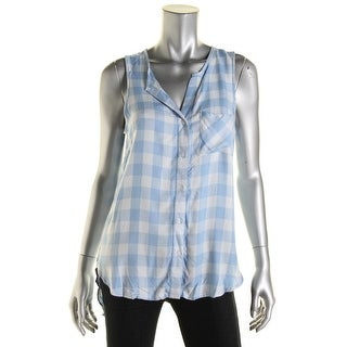 Stoosh Womens Juniors Flyaway Sleeveless Button-Down Top - S