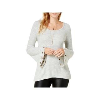 Kensie Womens Pullover Sweater Grommet Bell Sleeve