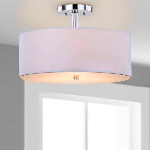 "SAFAVIEH Lighting Clara 3-light Chrome Ceiling Drum Light - 16""x16""x11.25"""