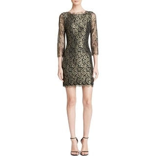 Diane Von Furstenberg Womens Cocktail Dress Metallic Lace