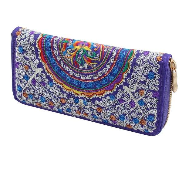 Women Embroidered Flower Zipper Closure Wallet Purse Money Coin Handbag Purple