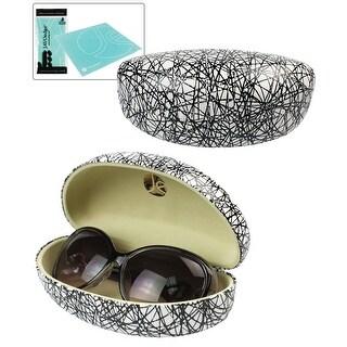 JAVOedge Black and White Scribble Pattern Fabric Clamshell Style Eyeglass / Sunglasses Case - Black / White