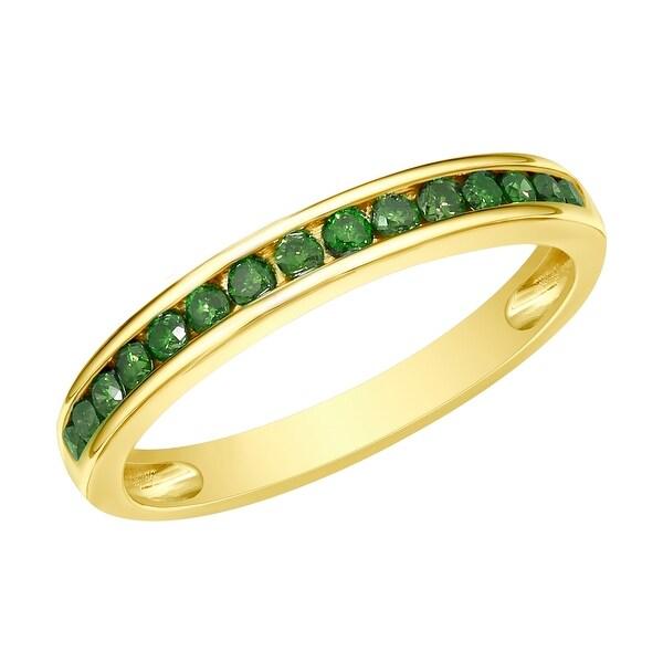 Prism Jewel 1.90MM 0.51CT Channel Set Round Cut Green Diamond Anniversary Ring