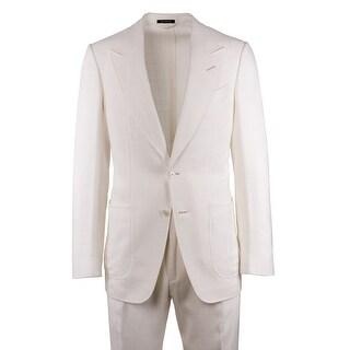 Tom Ford Men's Ivory Lightweight Peak Lapel Shelton Suit - S