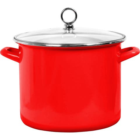 Calypso Basics by Reston Lloyd Enamel on Steel Stockpot with Glass Lid, 8-Quart, Red