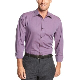Perry Ellis Big and Tall Button-Front Shirt Large Tall LT Plum Mini Check