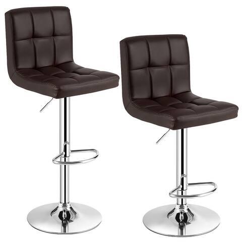 Set of 2 Modern Swivel Adjustable Armless Barstools
