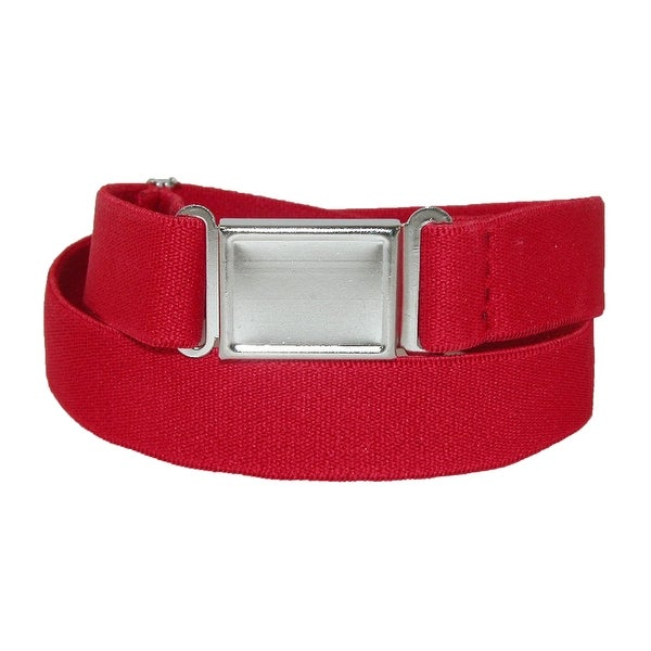 CTM® Plus Size Elastic Belt with Magnetic No Show Flat Buckle - One size