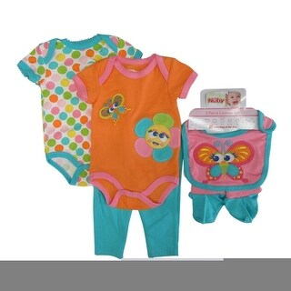 Nuby Baby Girls Orange Bodysuits Pant Bootie Bib 5 Pc Layette Set