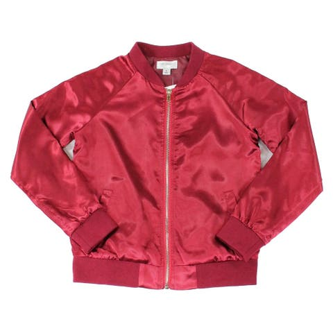 Say What Girl's Jacket Burgundy Red Size Small S Satin Bomber Solid