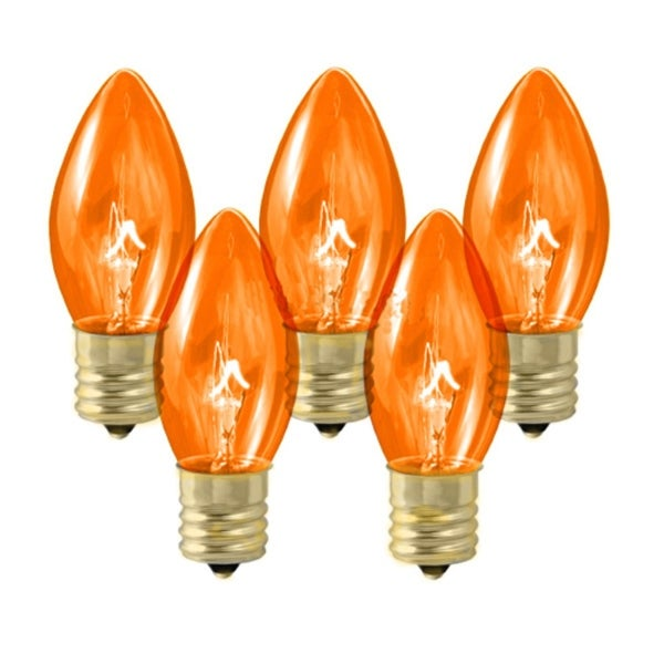 Pack of 25 Transparent Amber C7 Twinkle Replacement Christmas Light Bulbs