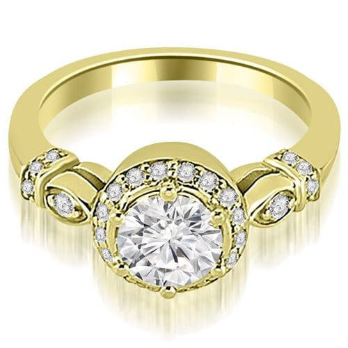 1.20 cttw. 14K Yellow Gold Antique Round Cut Diamond Engagement Ring